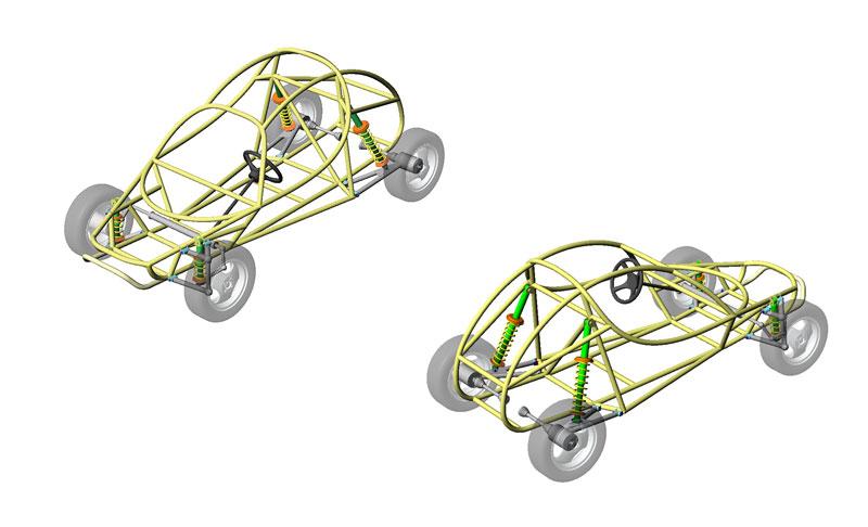 модель рамы багги созданная в Solid Works